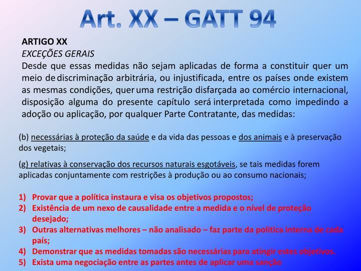 Art. XX – GATT 94