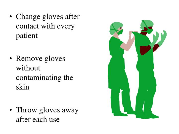 Change gloves after contact with every patient