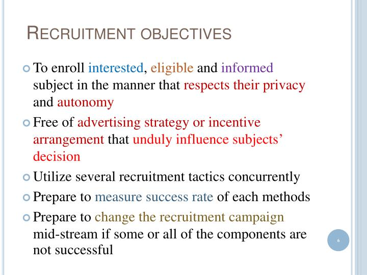 Recruitment objectives