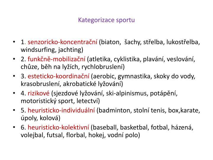 Kategorizace sportu