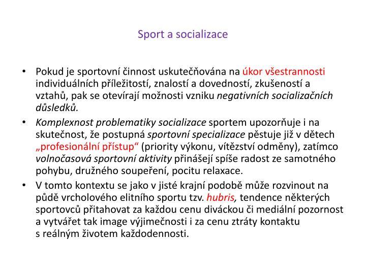 Sport a socializace