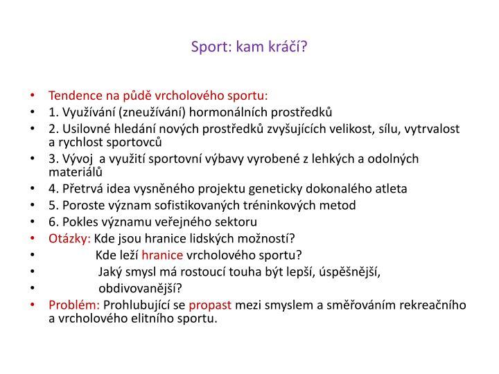 Sport: kam kráčí?