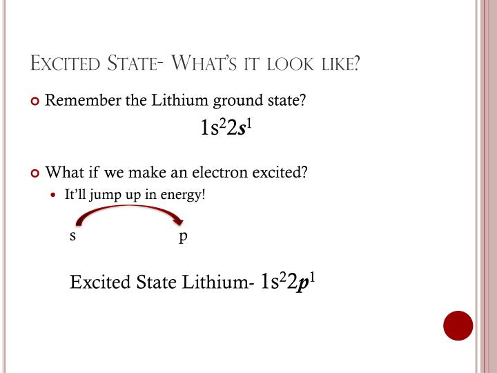 Excited State- What's it look like?