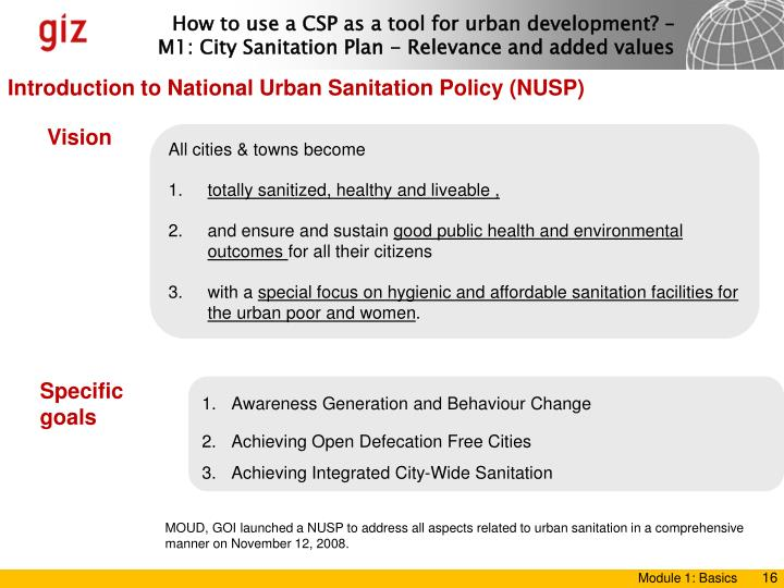 Introduction to National Urban Sanitation Policy (NUSP)