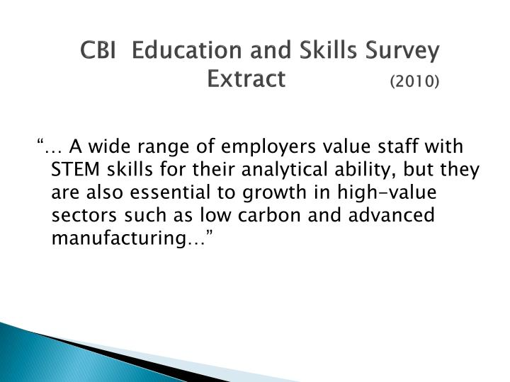 Cbi education and skills survey extract 2010
