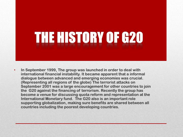 The History of g20