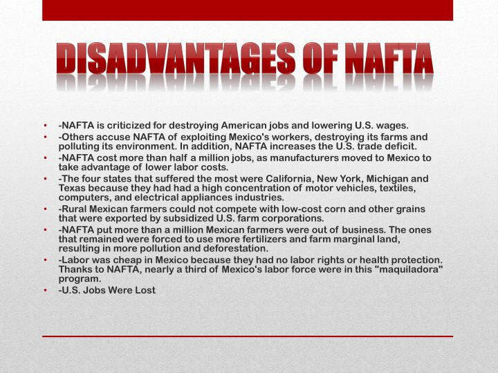 Disadvantages of NAFTA