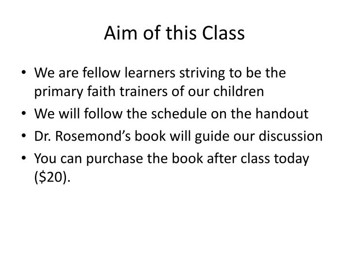 Aim of this Class