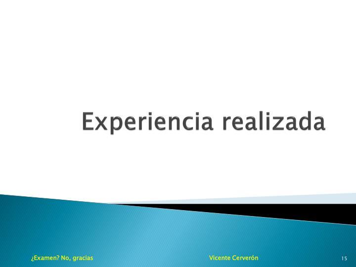 Experiencia realizada