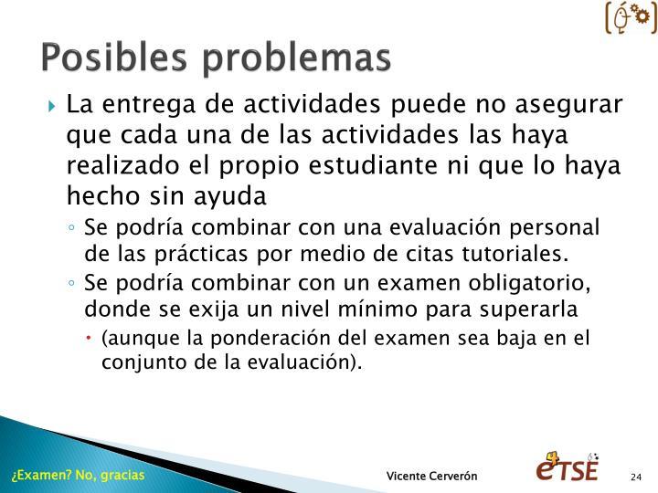 Posibles problemas