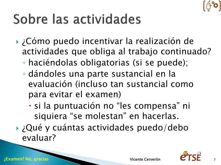 Sobre las actividades