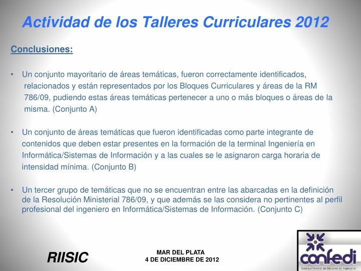 Actividad de los Talleres Curriculares 2012