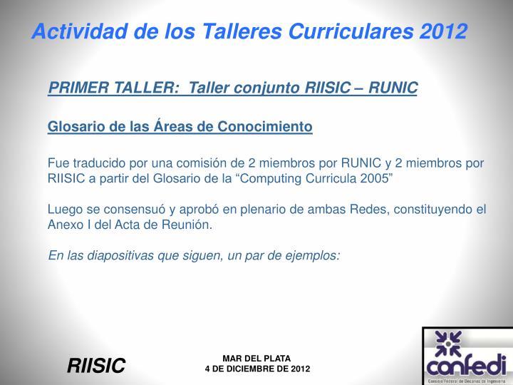 PRIMER TALLER:  Taller conjunto RIISIC – RUNIC