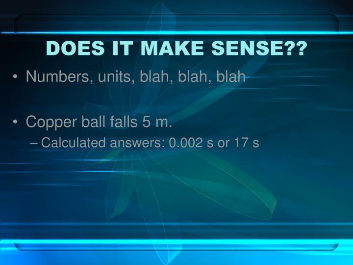 DOES IT MAKE SENSE??