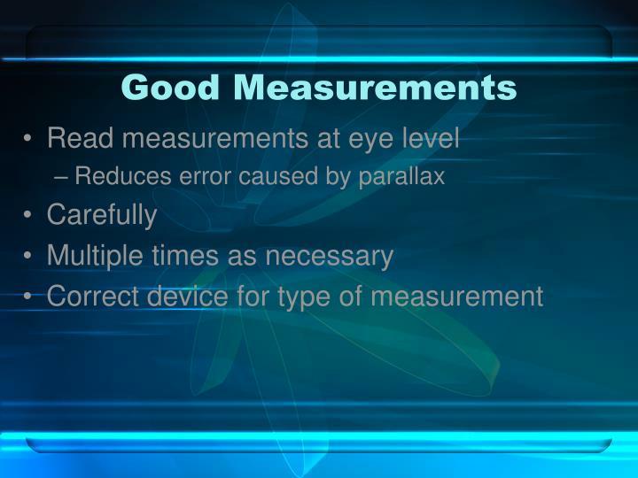 Good Measurements