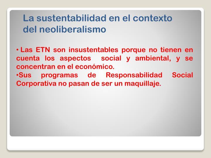 La sustentabilidad en el contexto