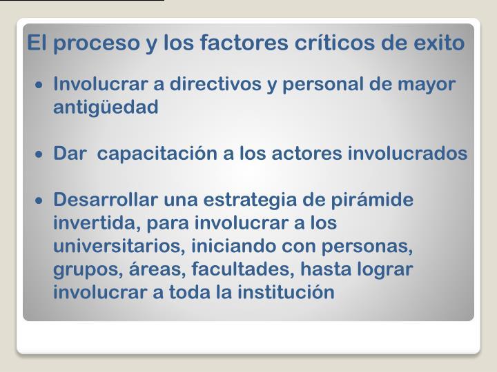 El proceso y los factores críticos de