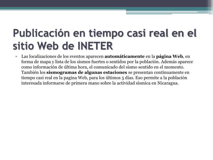Publicación en tiempo casi real en el sitio Web de INETER