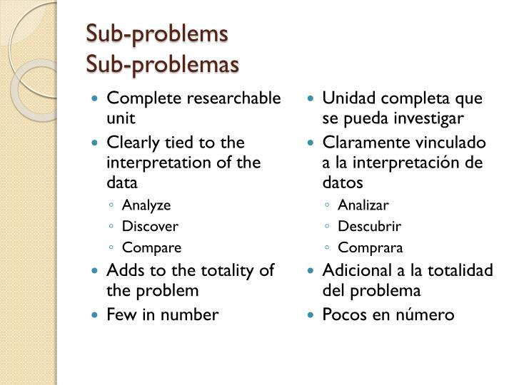 Sub-problems