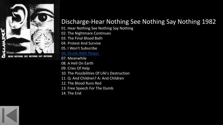 Discharge-Hear Nothing See Nothing Say Nothing 1982