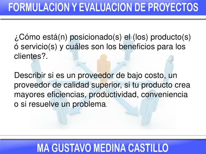 ¿Cómo está(n) posicionado(s) el (los) producto(s) ó servicio(s) y cuáles son los beneficios para los clientes