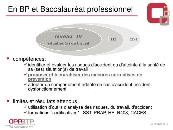 En BP et Baccalauréat professionnel