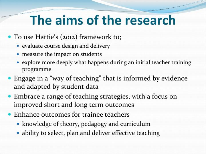 The aims of the research