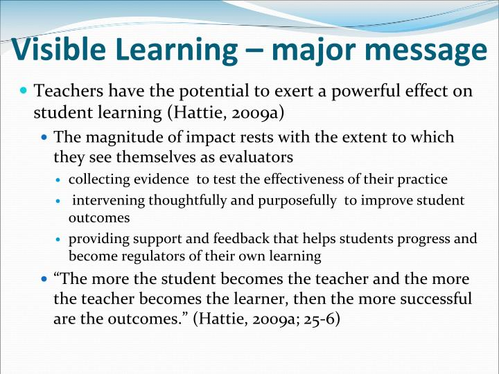 Visible Learning – major message