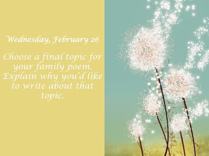 Wednesday, February 26