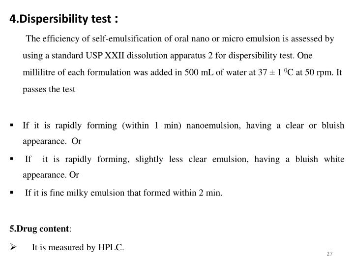 4.Dispersibility test