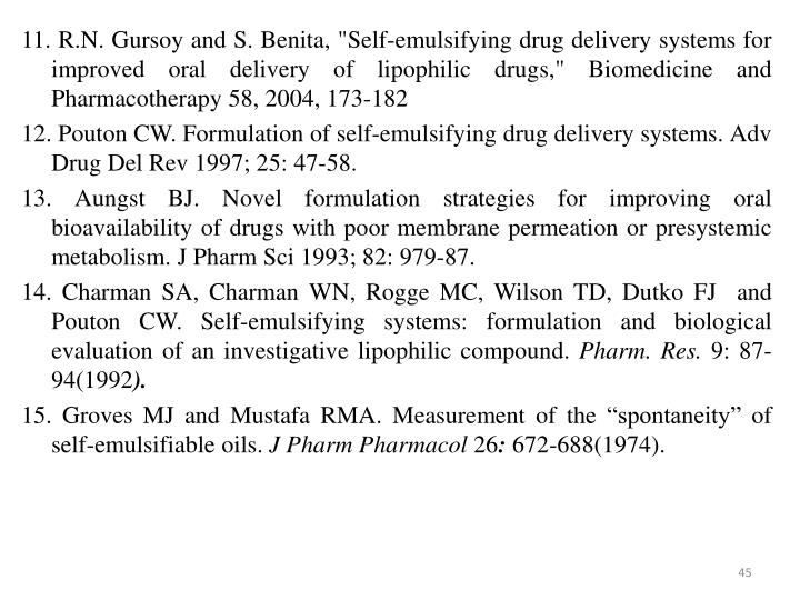 "11. R.N. Gursoy and S. Benita, ""Self-emulsifying drug delivery systems for improved oral delivery of lipophilic drugs,"" Biomedicine and Pharmacotherapy 58, 2004, 173-182"