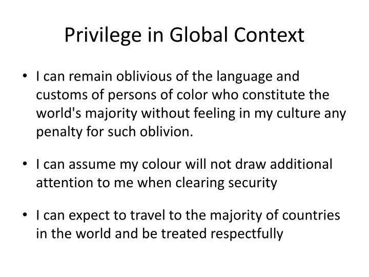 Privilege in Global Context