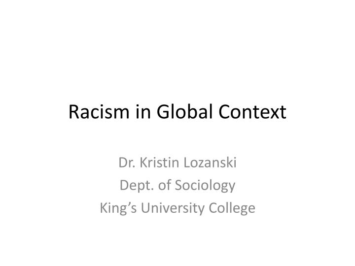 Racism in global context