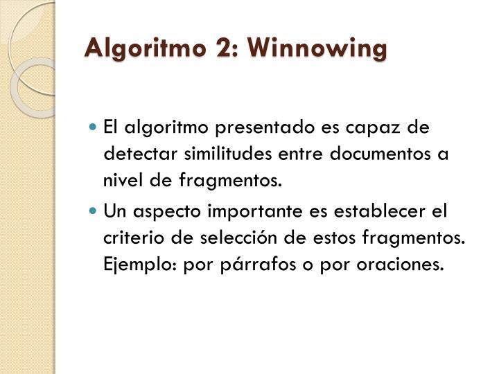 Algoritmo 2: Winnowing