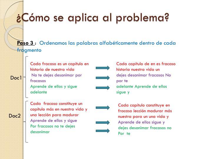 ¿Cómo se aplica al problema?