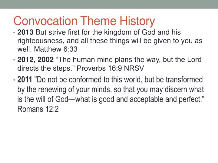 Convocation Theme History