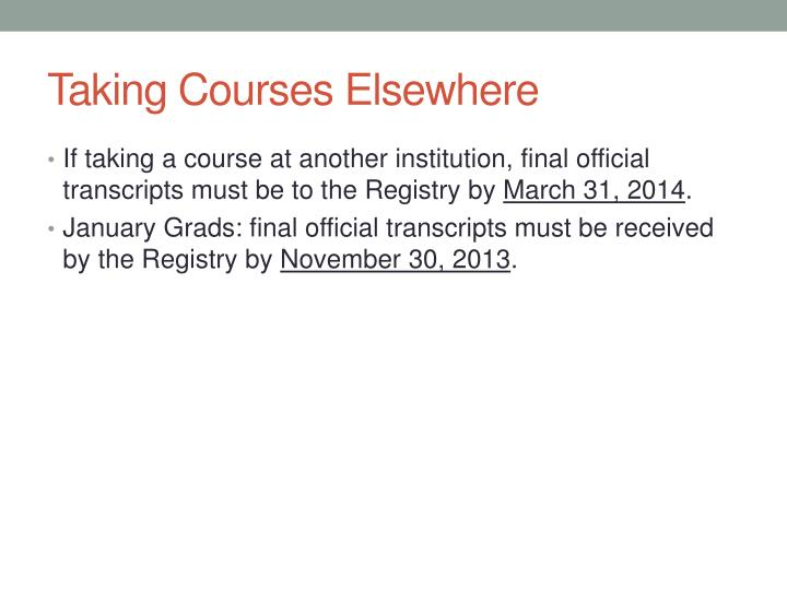 Taking Courses Elsewhere
