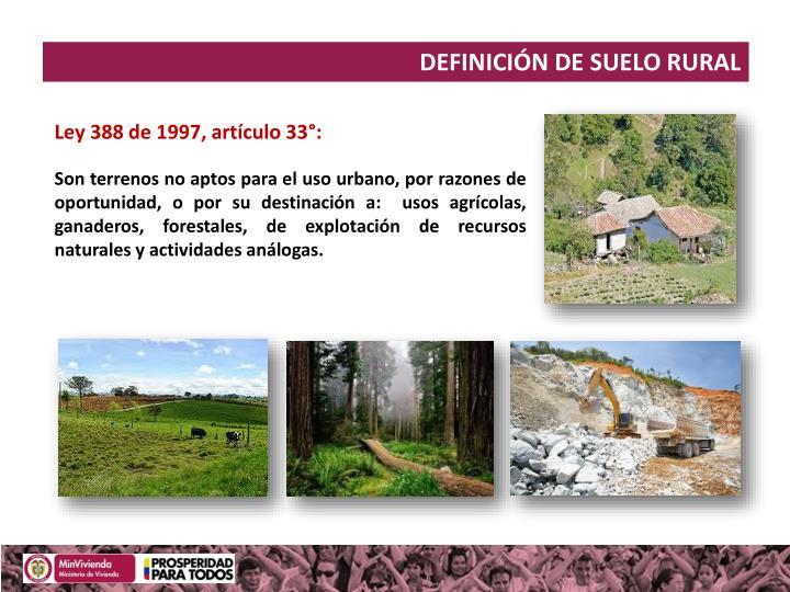DEFINICIÓN DE SUELO RURAL