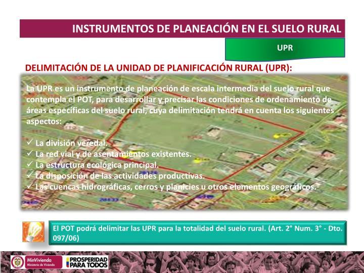 INSTRUMENTOS DE PLANEACIÓN EN EL SUELO RURAL