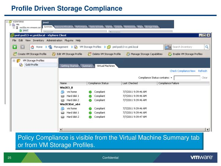 Profile Driven Storage Compliance