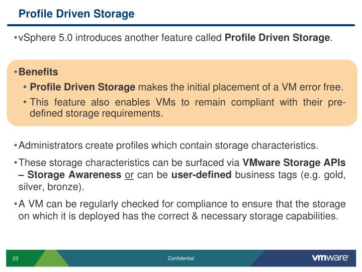 Profile Driven Storage