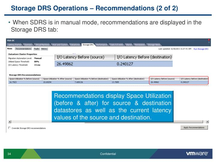 Storage DRS Operations – Recommendations (2 of 2)