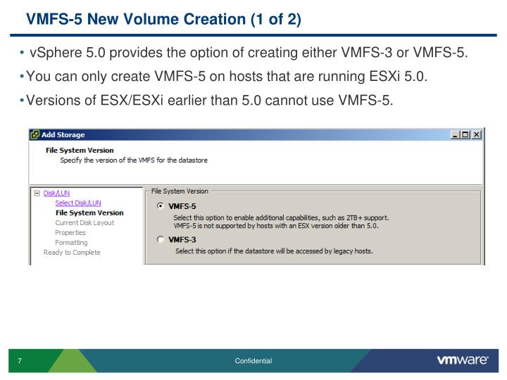 VMFS-5 New Volume Creation (1 of 2)