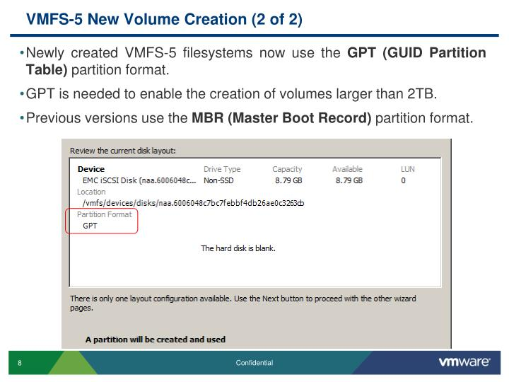 VMFS-5 New Volume Creation (2 of 2)