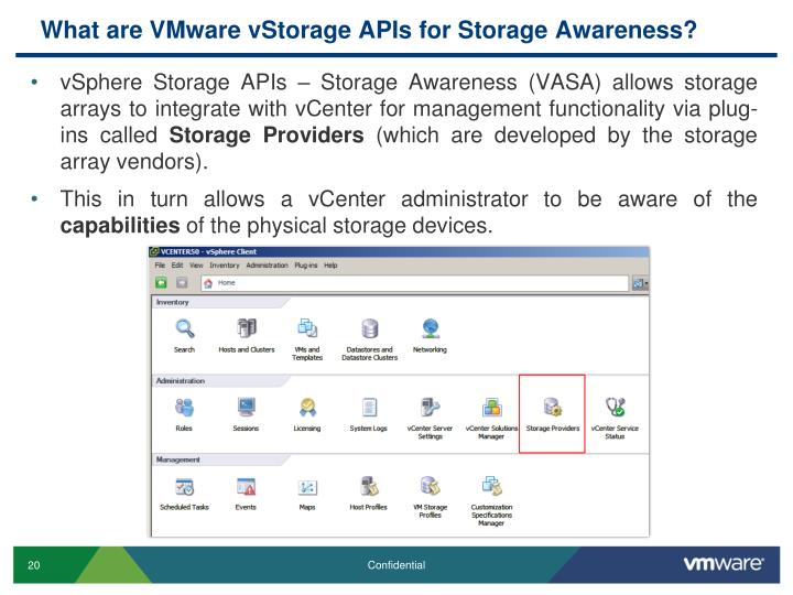 What are VMware vStorage APIs for Storage Awareness?