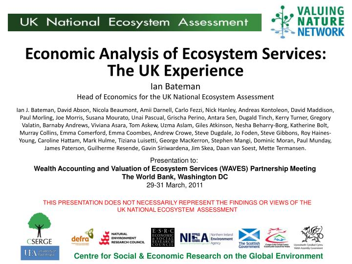 Economic Analysis of Ecosystem Services: