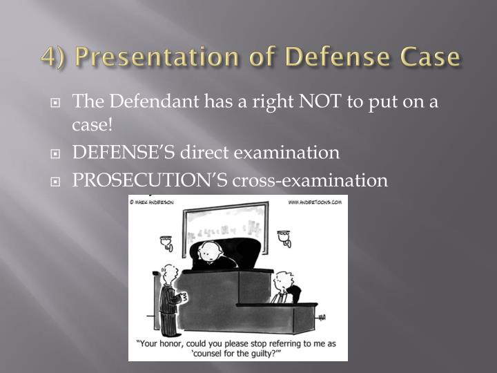 4) Presentation of Defense Case