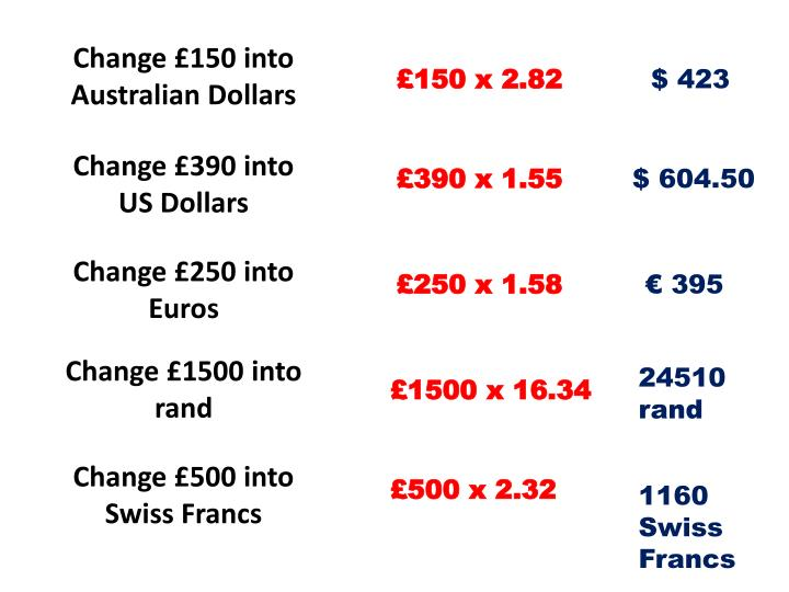 Change £150 into Australian Dollars