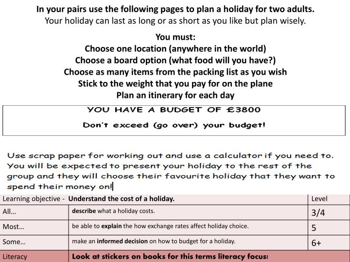Become a holiday planner… Dream holiday or holiday-on-a-budget