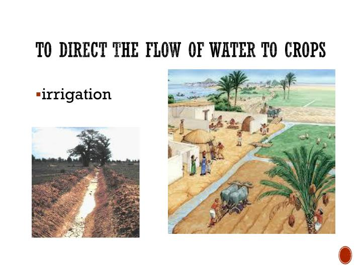To direct the flow of water to crops